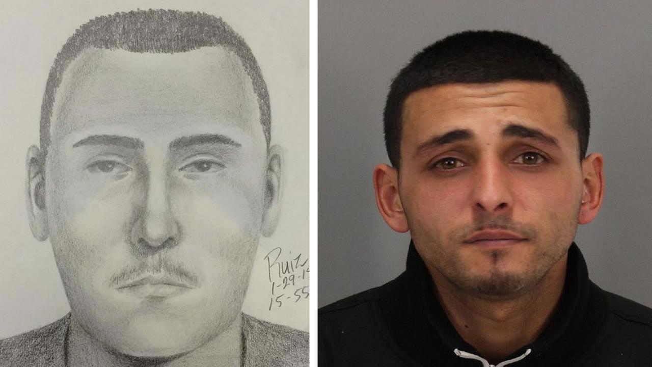 Palo Alto police release a sketch of a suspect still wanted in an armed robbery at Frys Electronics and a photo of another suspect arrested in the case, 24-year-old Jason Fayed.