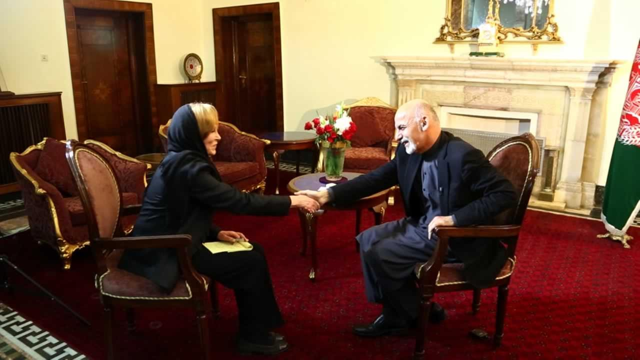 ABC7 News Anchor Cheryl Jennings with President of Afghanistan Ashraf Ghani, at the Presidential Palace in Kabul, Afghanistan. (KGO)