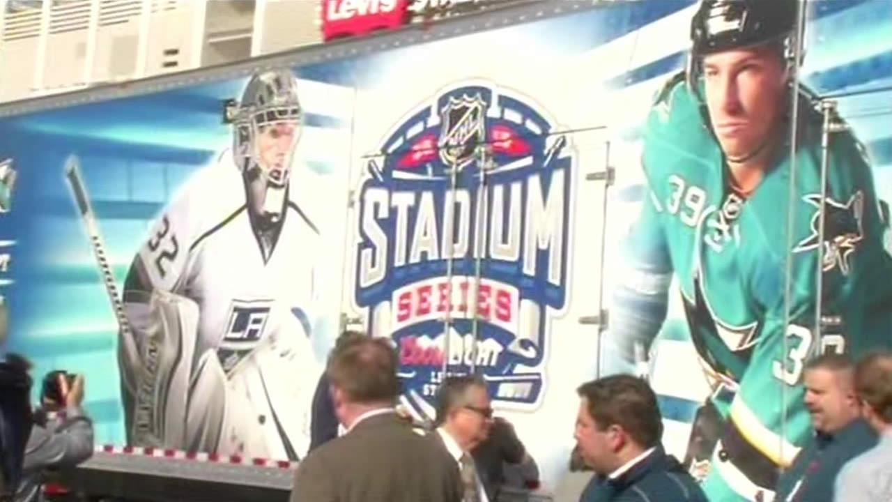 Preparations got underway for the 2015 Coors Light NHL Stadium Series game at Levis Stadium in Santa Clara, Calif. on Feb. 9, 2015.