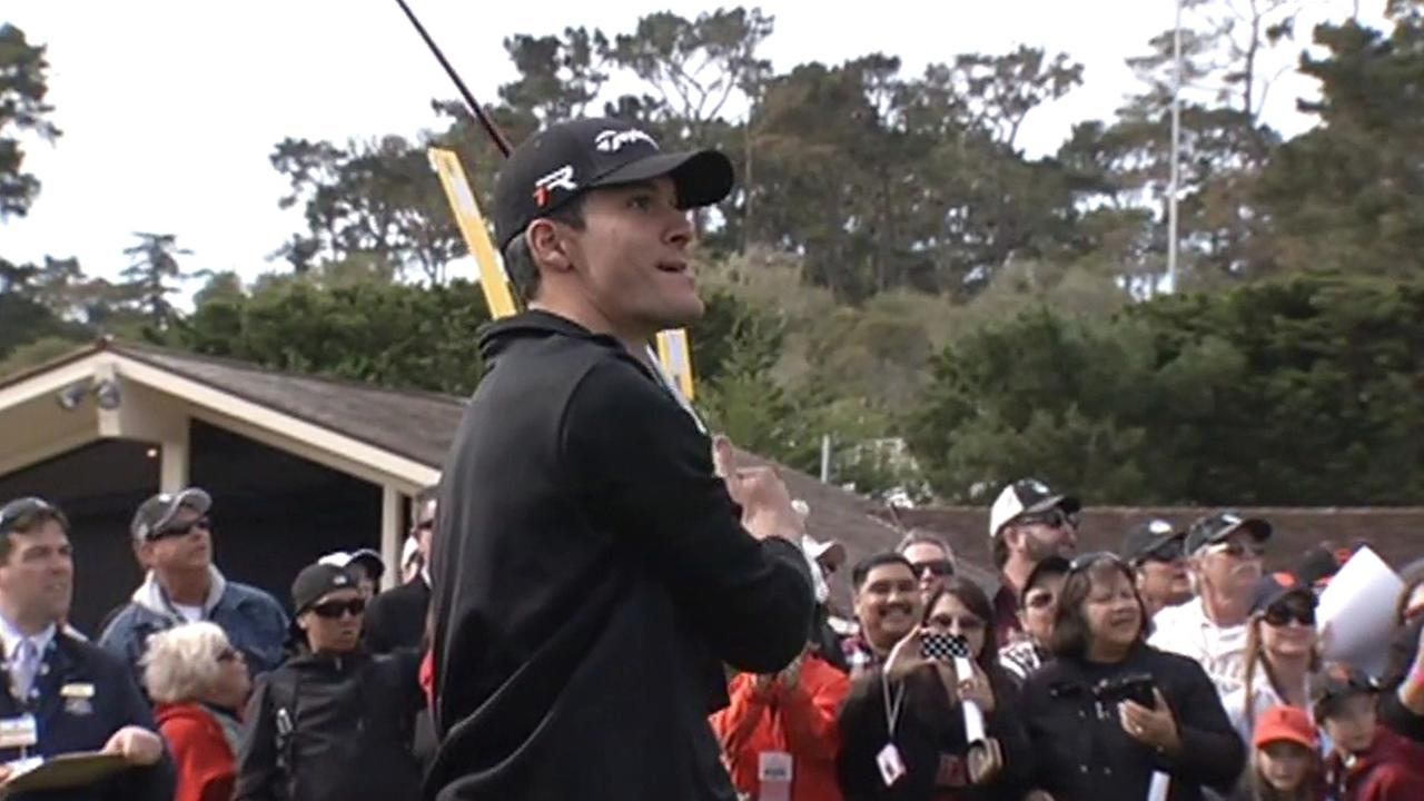 San Francisco Giants pitcher Javier Lopez golfing at Pebble Beach.
