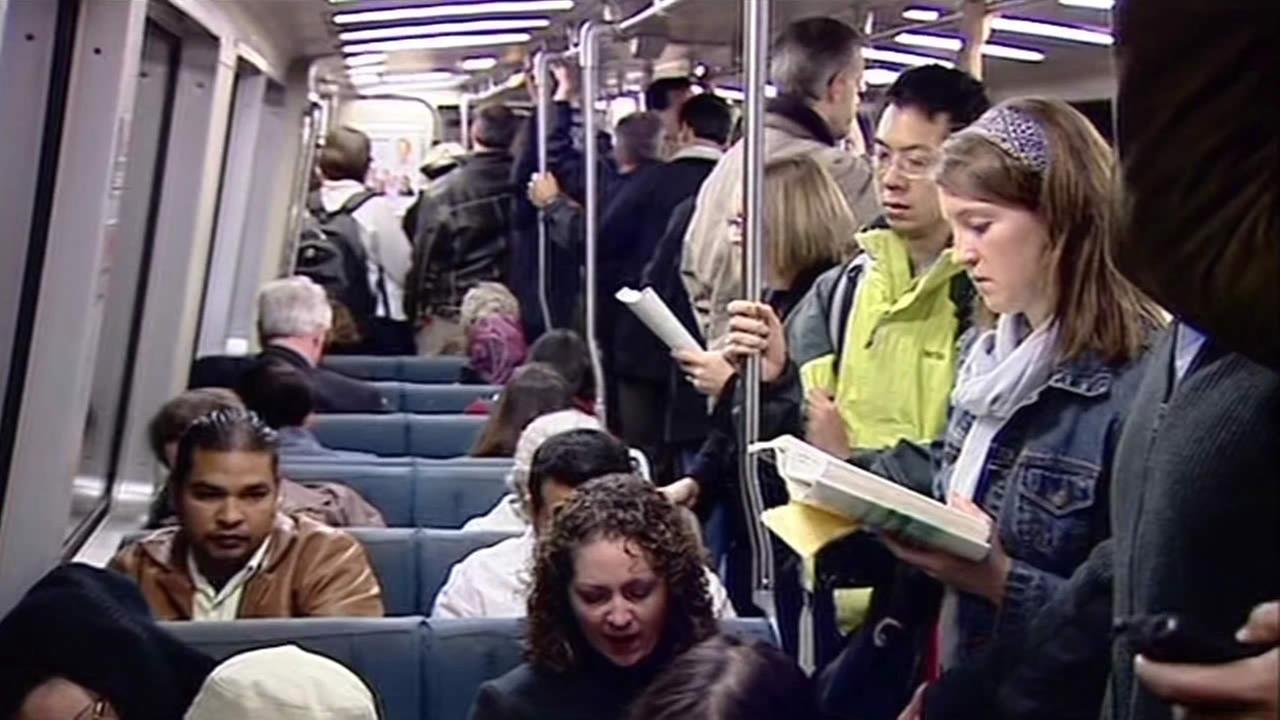 Commuters in a BART train.