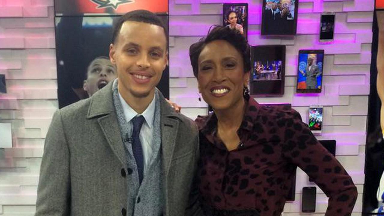 Golden State Warriors Guard Stephen Curry and GMAs Robin Roberts.