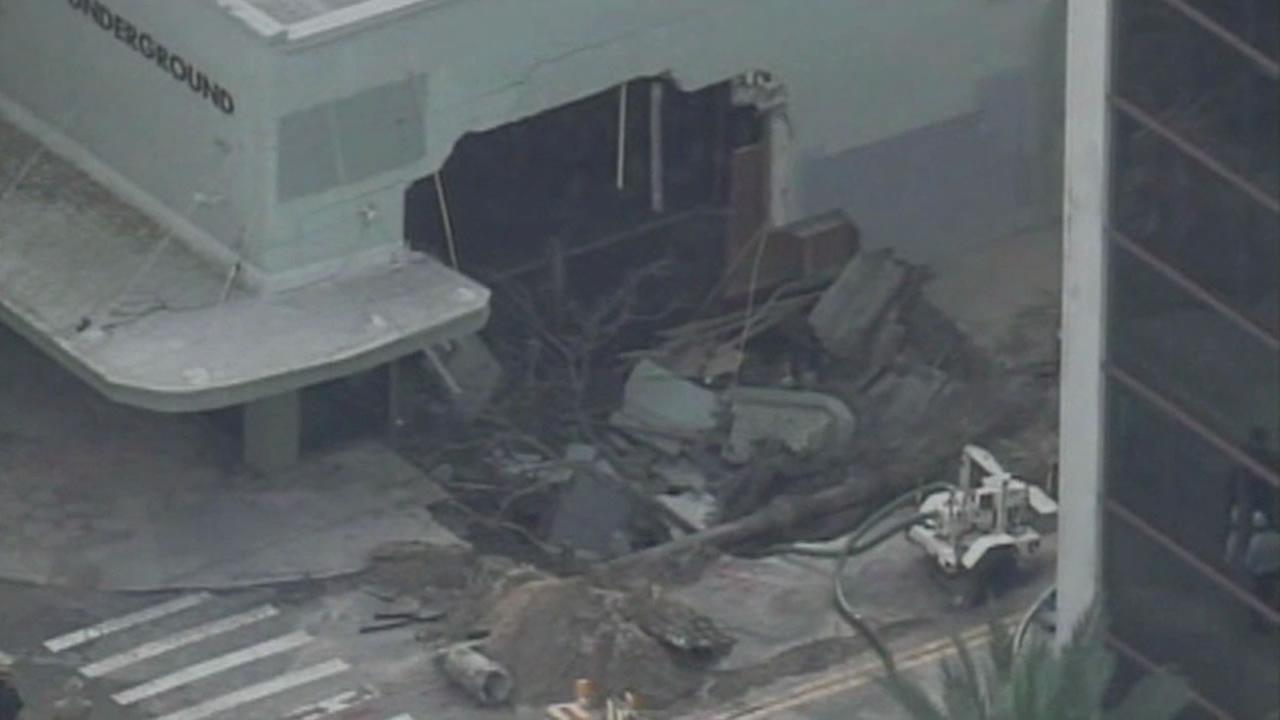 A water main leak is to blame for leaving a gaping hole in the side of a building in St. Petersburg, Florida.