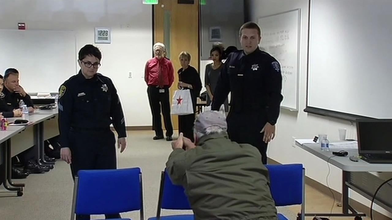Law enforcement officers went through scenarios during a crisis intervention training program in Belmont, Calif. on Feb. 26, 2015.