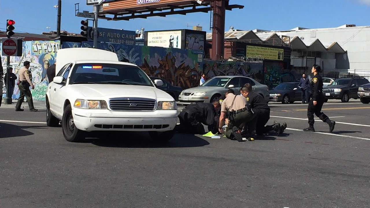 A bicyclist was hit by a vehicle in San Franciscos Mission District on March 2, 2015.