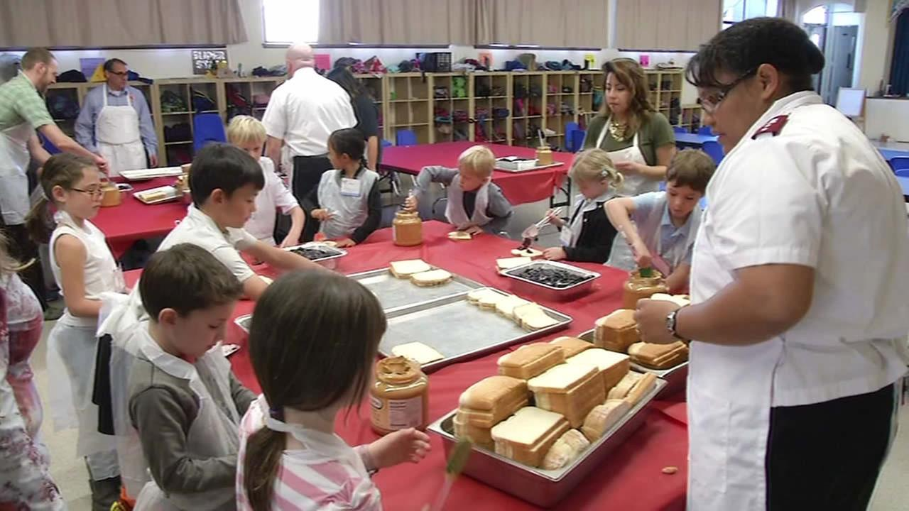 Kindergartners and first graders at Alta Vista School made peanut butter and jelly sandwiches for the homeless in San Francisco on March 5, 2015.