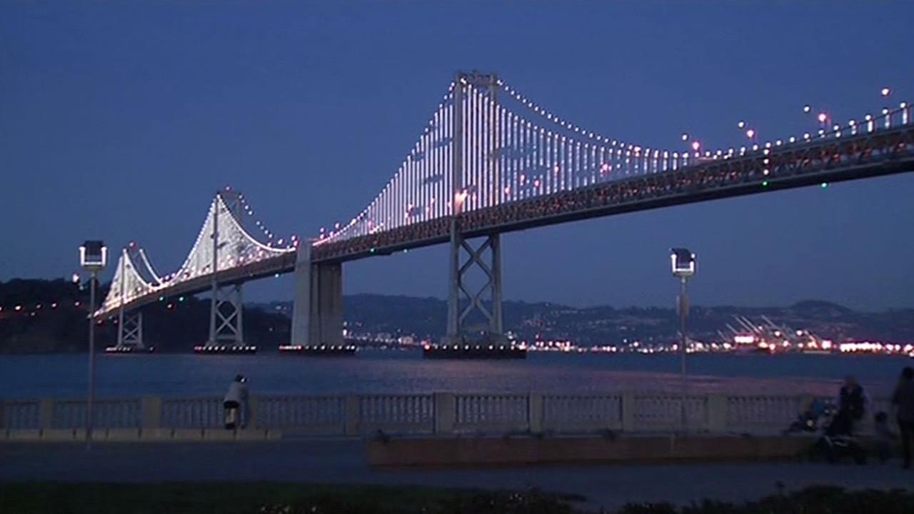 FILE -- Bay Lights along the western span of the Bay Bridge.
