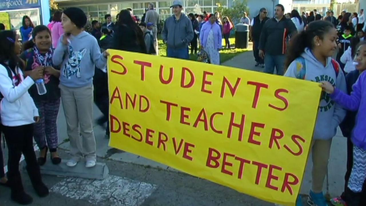 Students and parents held a sickout Friday at Belle Air Elementary School in San Bruno  to support their teachers.