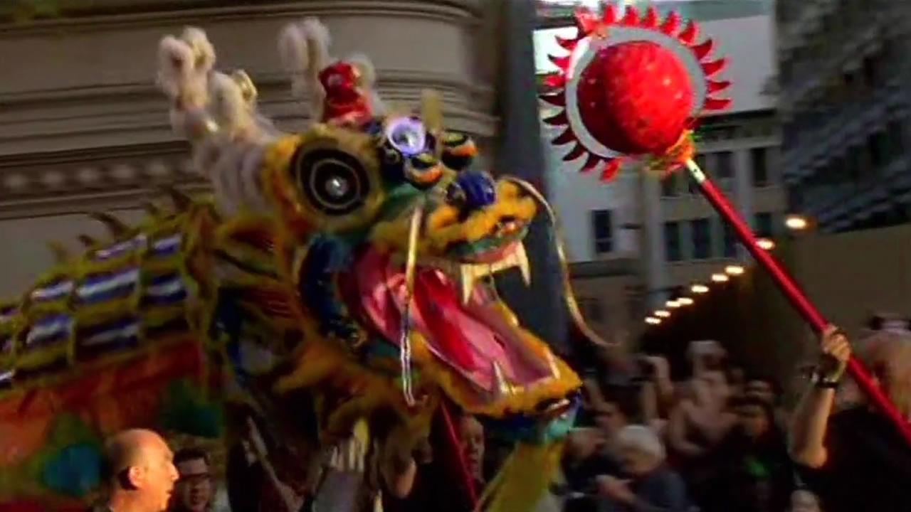 A dragon from the Chinese New Year parade in San Francisco Saturday.
