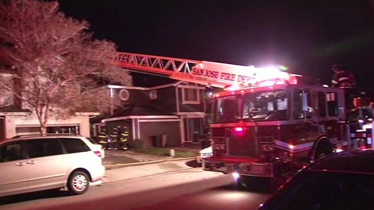 A two-alarm house fire left two people without a home in San Jose, Calif. on March 14, 2015.