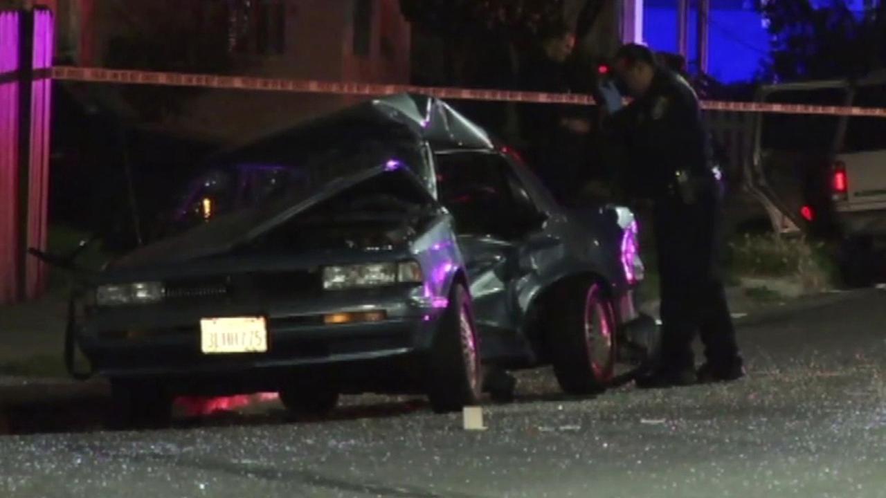 Hit-and-run crash scene in Oakland.