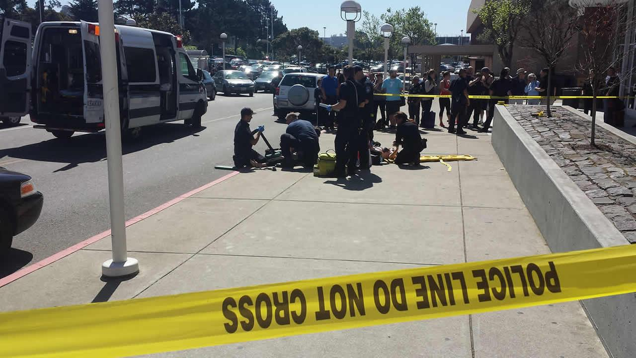 Police say a mother and her 5-year-old daughter were hit by an SUV outside Stonestown Galleria Mall in San Francisco on March 18, 2015.