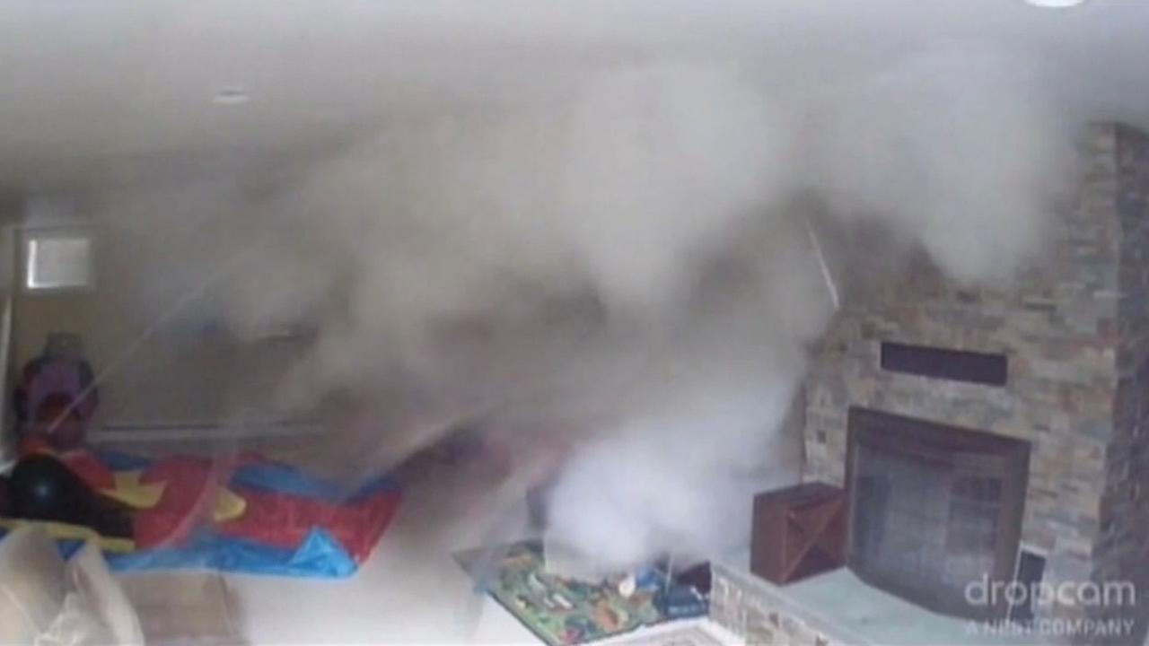 Video captured on familys nanny camera shows the boiler blowing in the basement of their home in Bellingham, Wash.