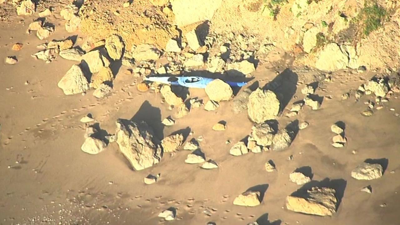 kayak on rocks