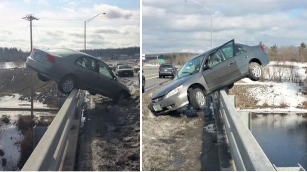 Colin Malone, 17, lost control of his car and ended up balancing on the railing of the Sagamore Bridge in Nashua, N.H. on March 21, 2015.