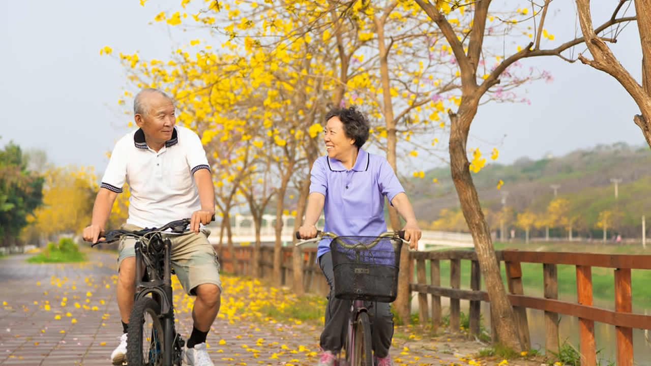 Retired couple bike riding.
