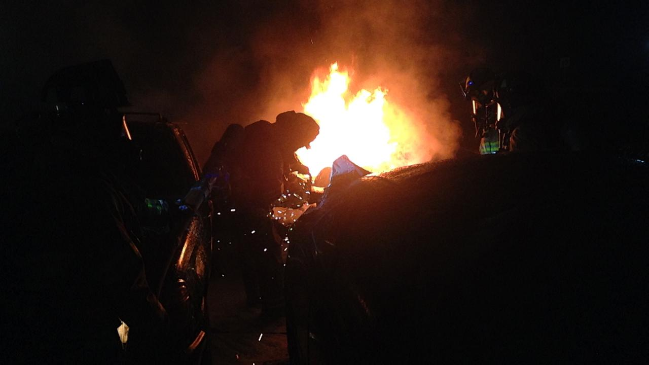 Fire at car auction lot in Bay Point, California.