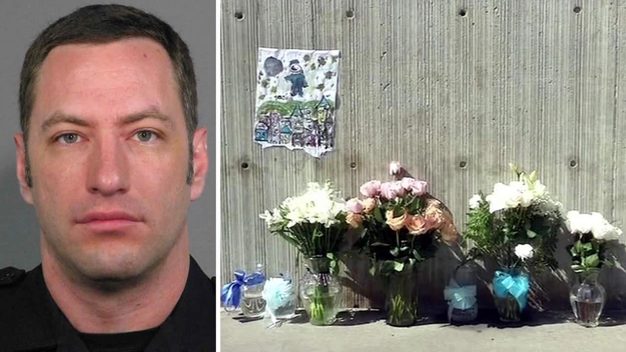 Flowers are being left at the San Jose Police Department in memory of Officer Michael Johnson, who was shot and killed in San Jose, Calif. on March 24, 2015.