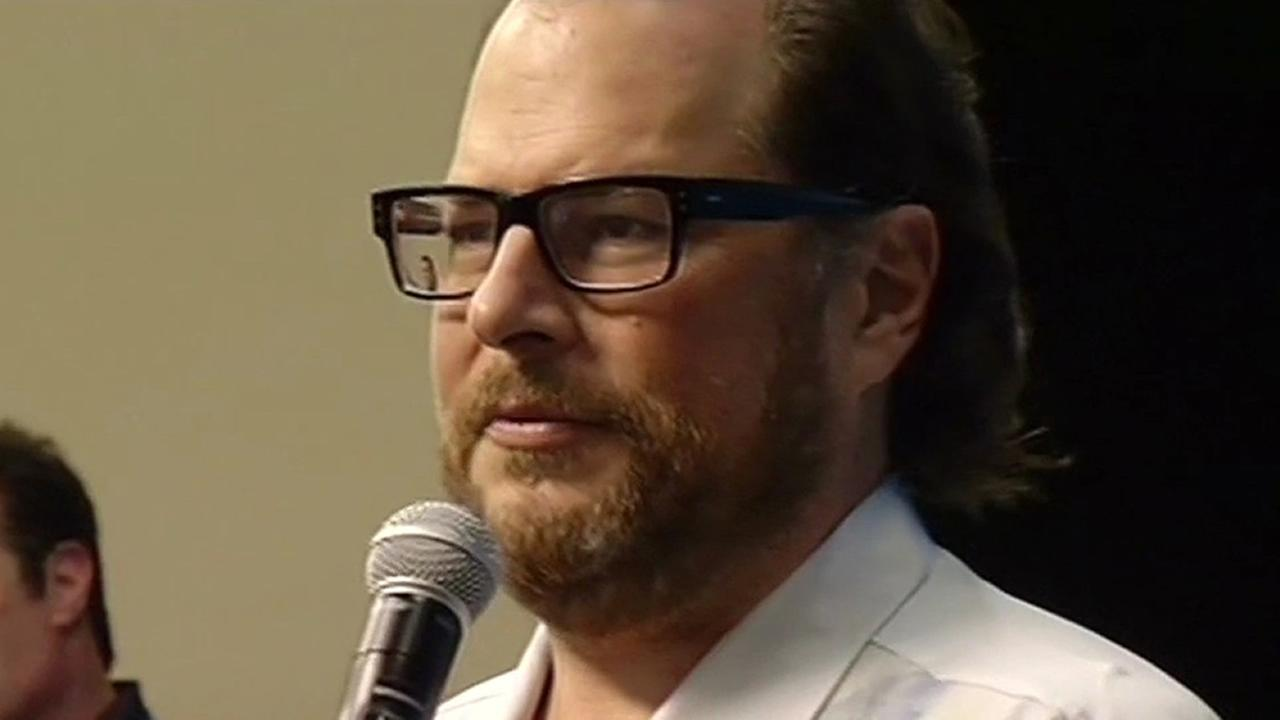 This undated file image shows Salesforce CEO Marc Benioff.
