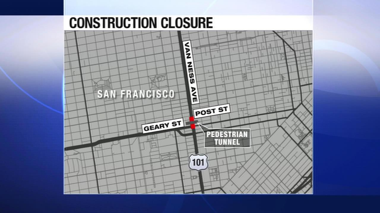 San Franciscos Van Ness Avenue between Post and Geary streets will be closed as crews install a pedestrian tunnel for the new California Pacific Medical Center.