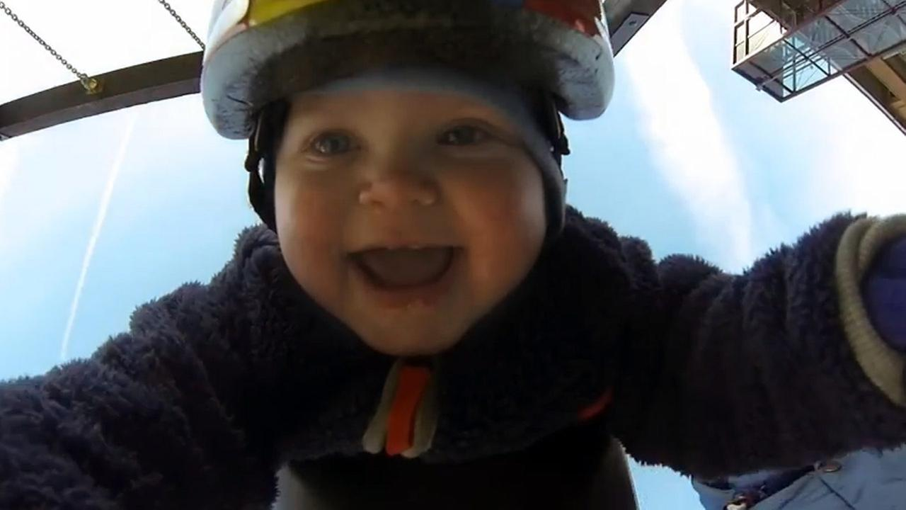 GoPro captures babys first ride on a swing. (YouTube)