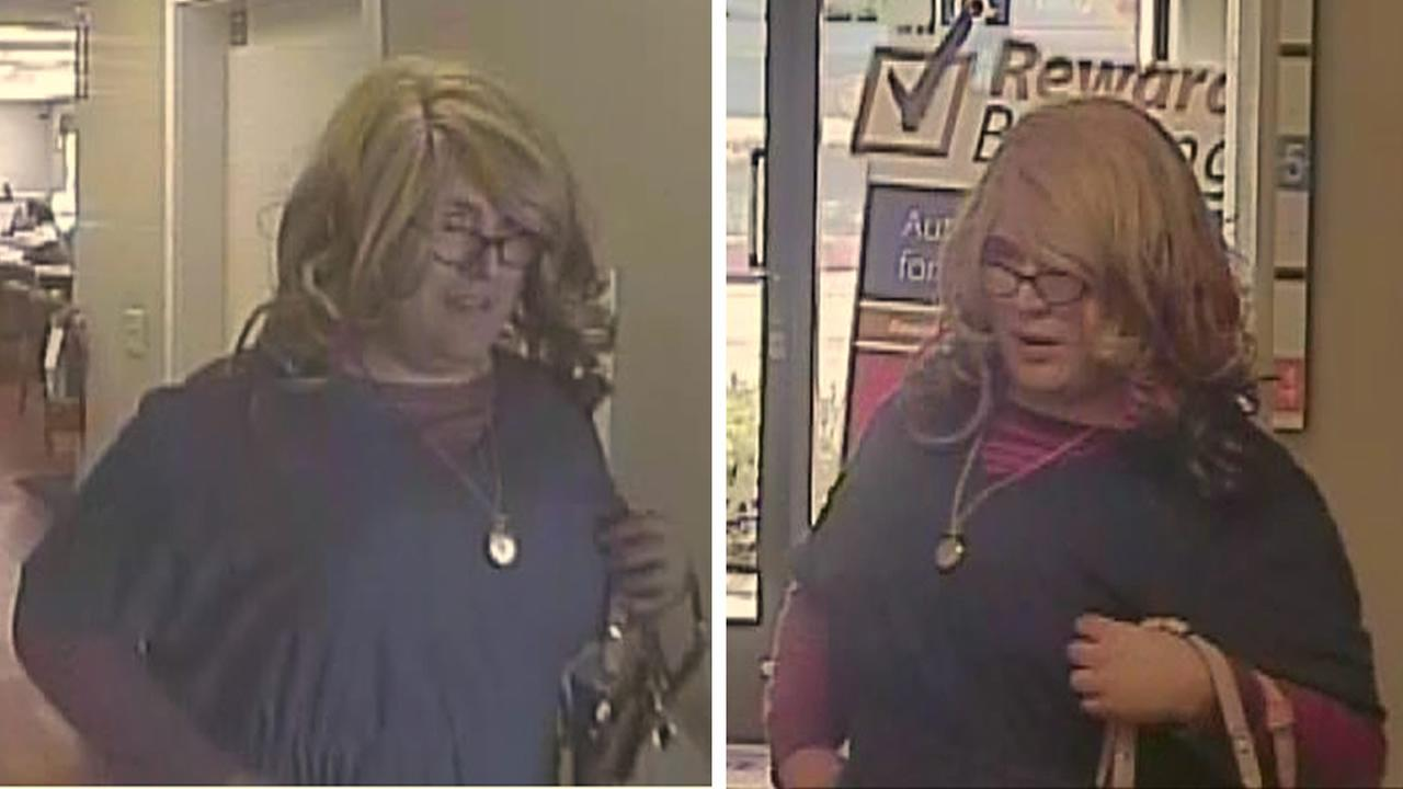 Police are searching for a Mrs. Doubtfire lookalike who robbed a bank in Santa Cruz, Calif. on April 3, 2015.