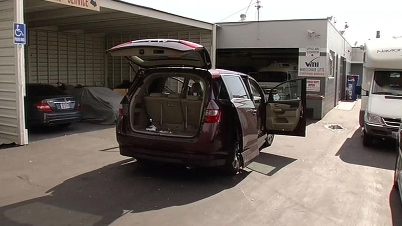A van thats custom designed for people with disabilities was found in Fremont, Calif. on April 8, 2015 after it was stolen from the house of woman who has ALS.