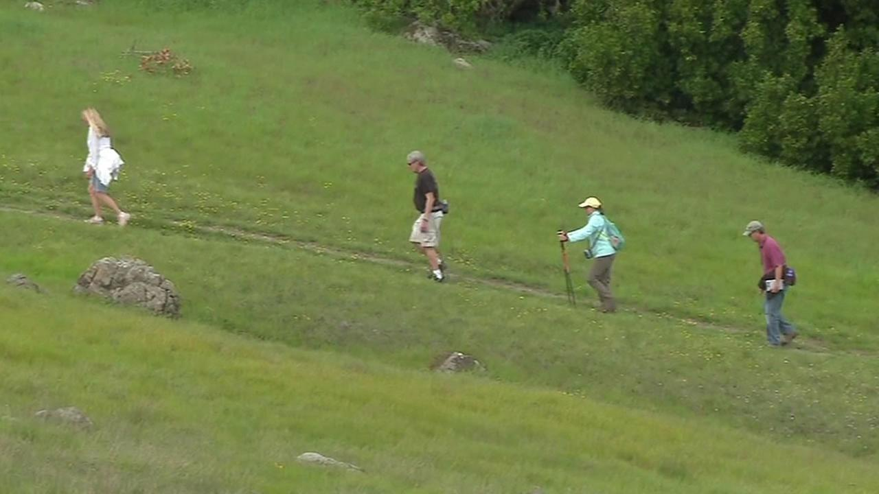 Hikers on a trail in Ring Mountain preserve