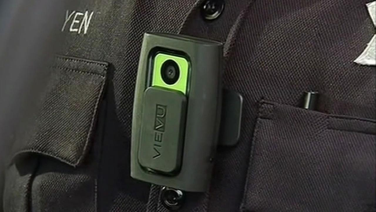 Police officers camera on his uniform