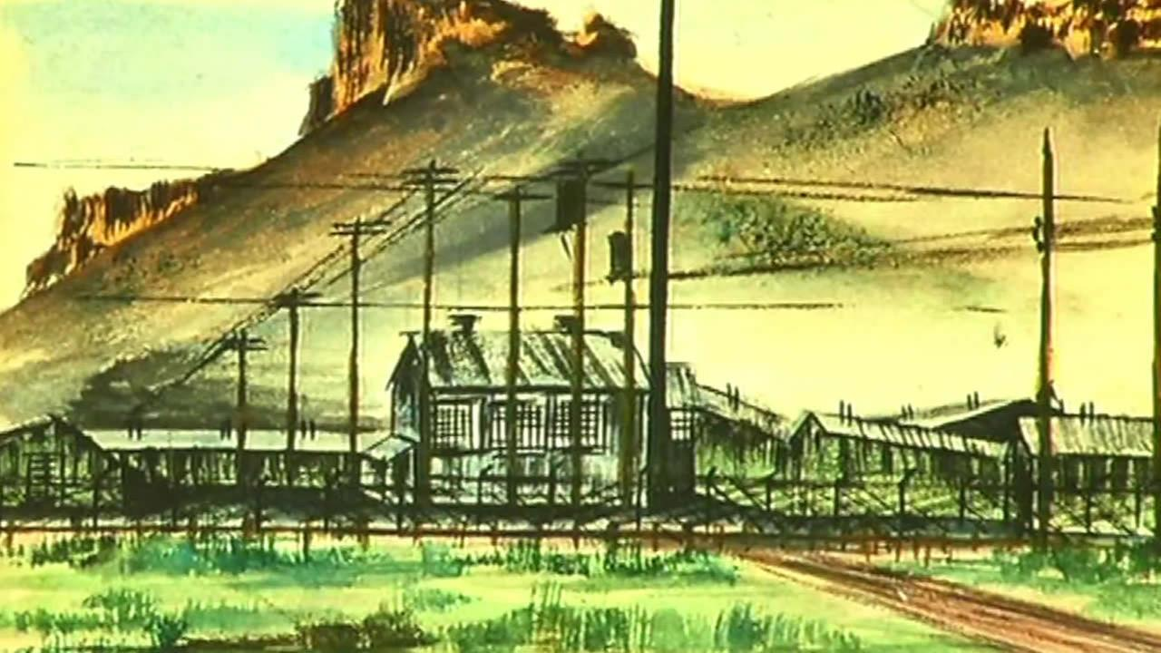 This undated image shows a painting by a Japanese-American during a World War II internment camp.