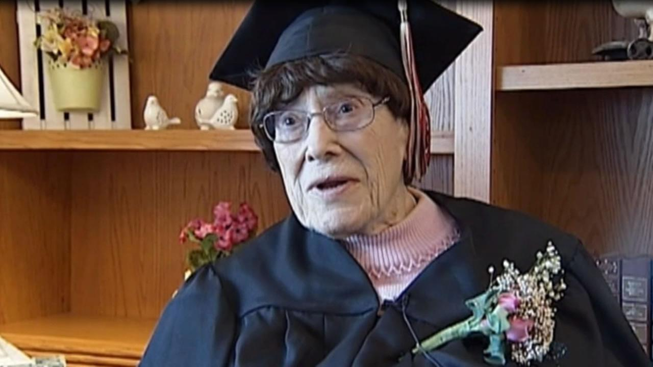 Marie Hunt, 103, who dropped out of high school to take care of her eight brothers and sisters, received an honorary diploma in Spring Green, Wis. in April 2015.