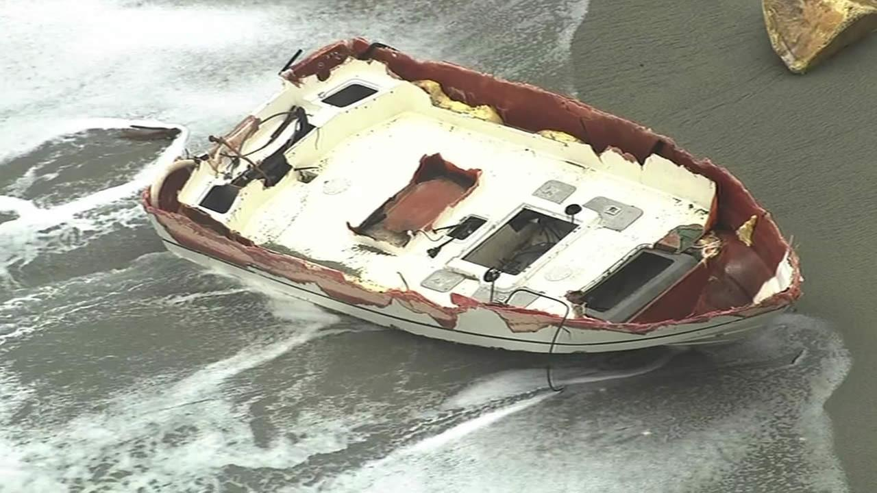 The U.S. Coast Guard searches for two missing fishermen in Bodega Bay, Calif. on April 18, 2015. following a boating accident that killed two others onboard.