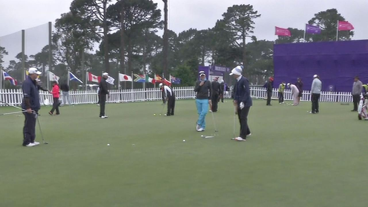 LPGA golfers practice at Lake Merced Golf Course