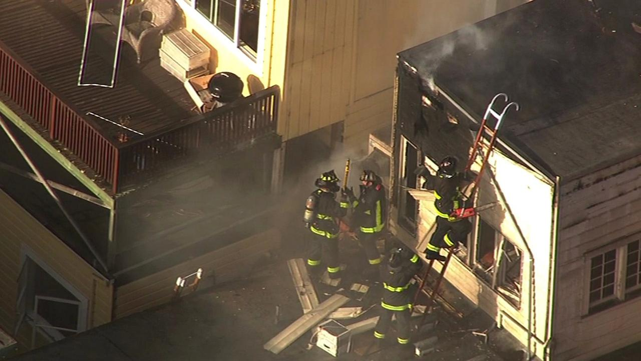 San Francisco firefighters battled a two-alarm fire at Liverpool Lils restaurant and bar on Wednesday, April 29, 2015.