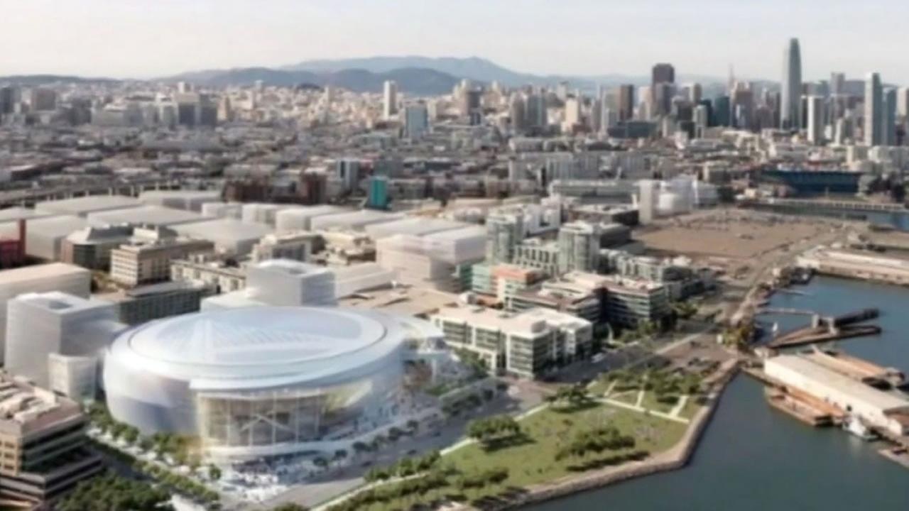 sketch of the proposed new Warriors arena