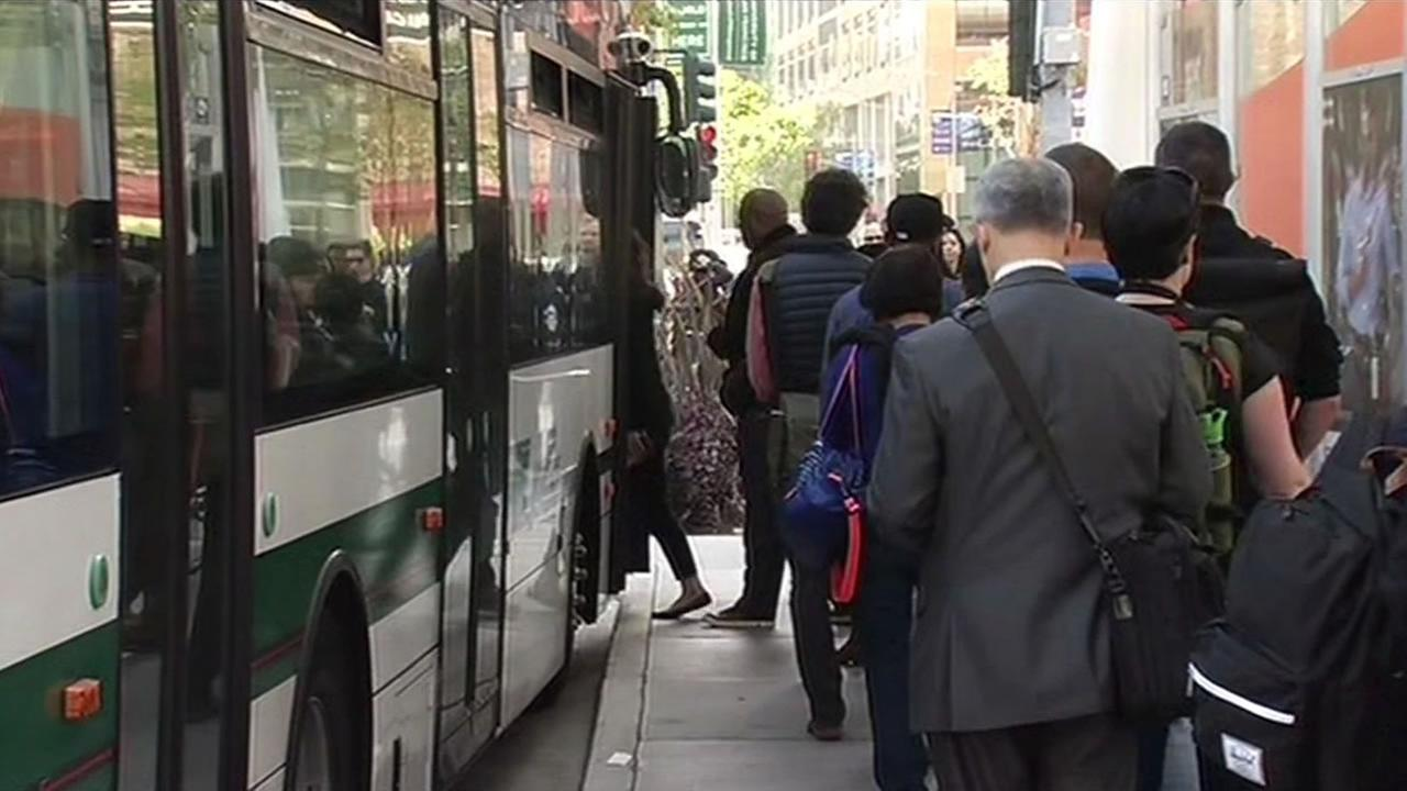 Dozens of people gathered at the Transbay Terminal to try and catch a bus