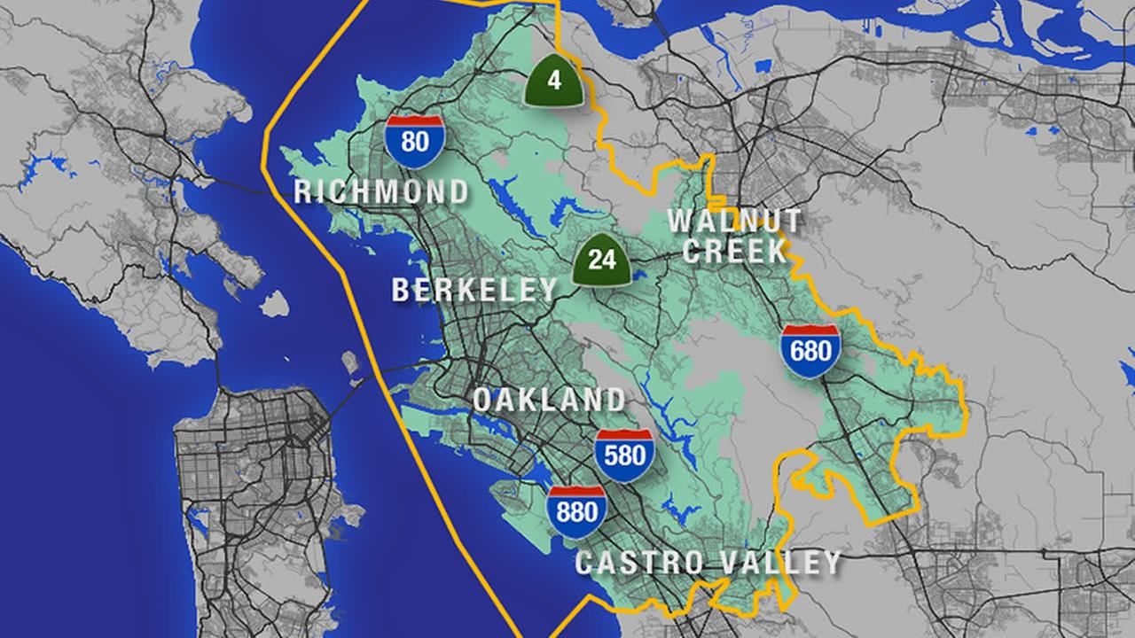 A map of the East Bay showing which parts will be affected by EBMUDs water change