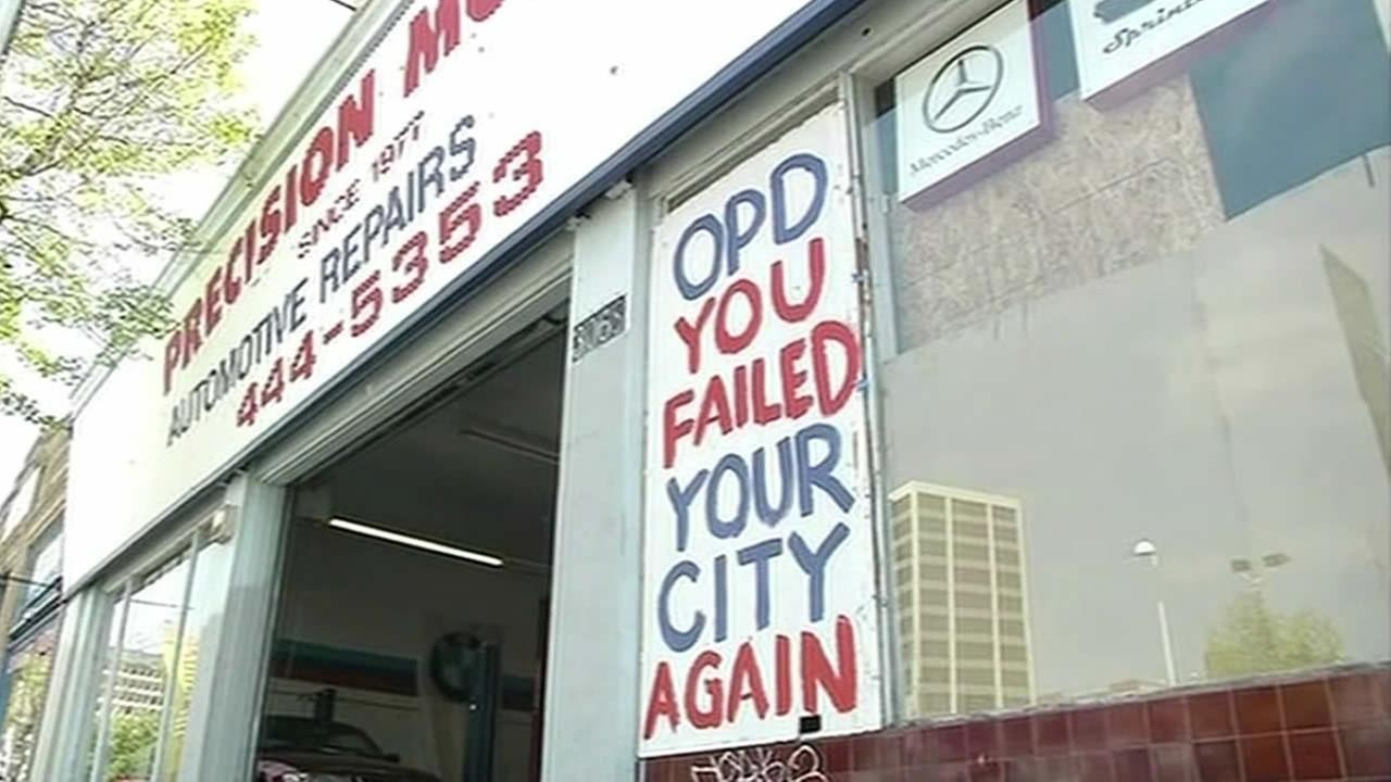 Precision Motors, an auto shop that was vandalized on May 1, 2015 in Oakland, Calif., is using the walls of their business to call out Oakland Police Chief Sean Whent.