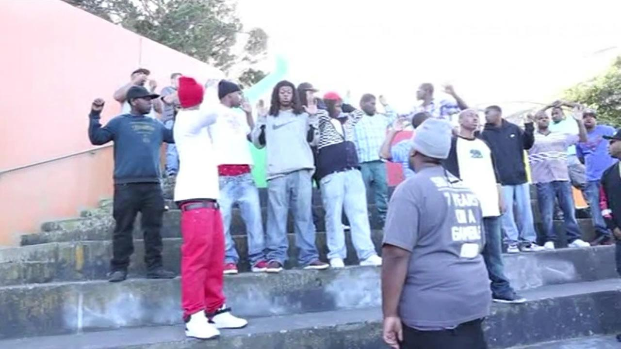 A group shooting a rap video was handcuffed and detained in San Francisco on March 20, 2015.