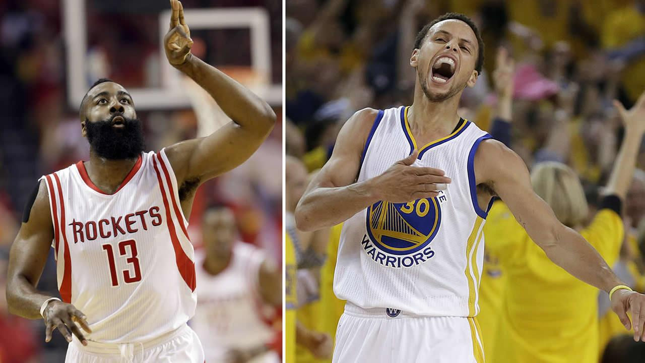 Houston Rockets guard James Harden (left) and Golden State Warriors guard Stephen Curry (right).