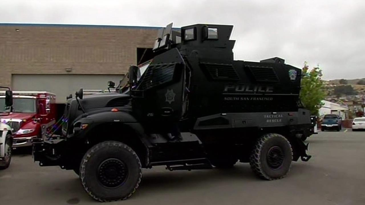 This undated image shows the South San Francisco Police Departments armored personnel carrier.