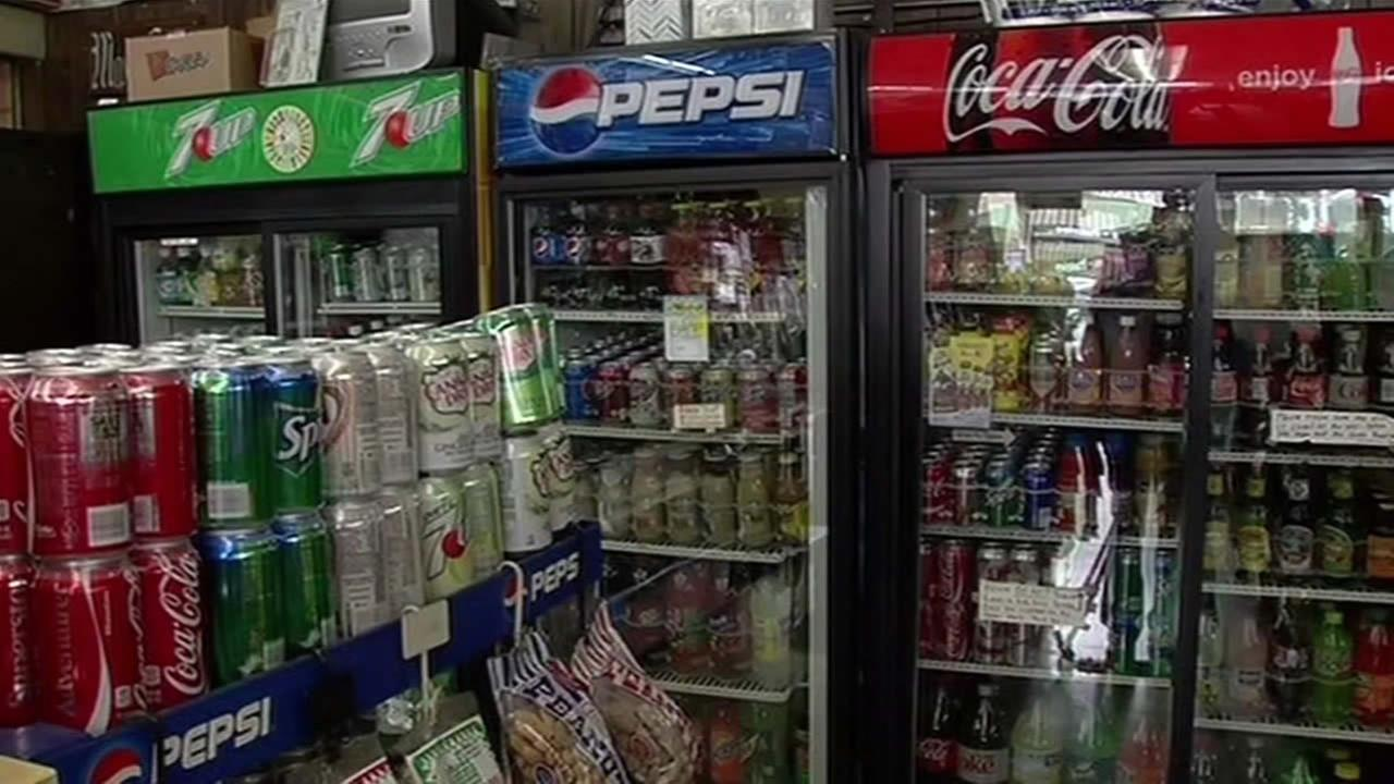 Sodas sold at Maxs Liquor in Albany, Calif. are seen on May 18, 2015.