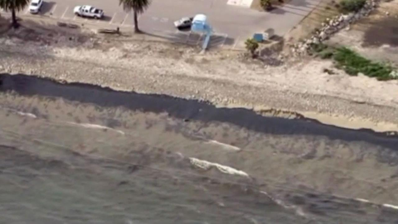 An oil spill that fouled beaches and threatened wildlife along the Santa Barbara coast spread across 9 miles of ocean Wednesday as cleanup efforts began, May 20, 2015.