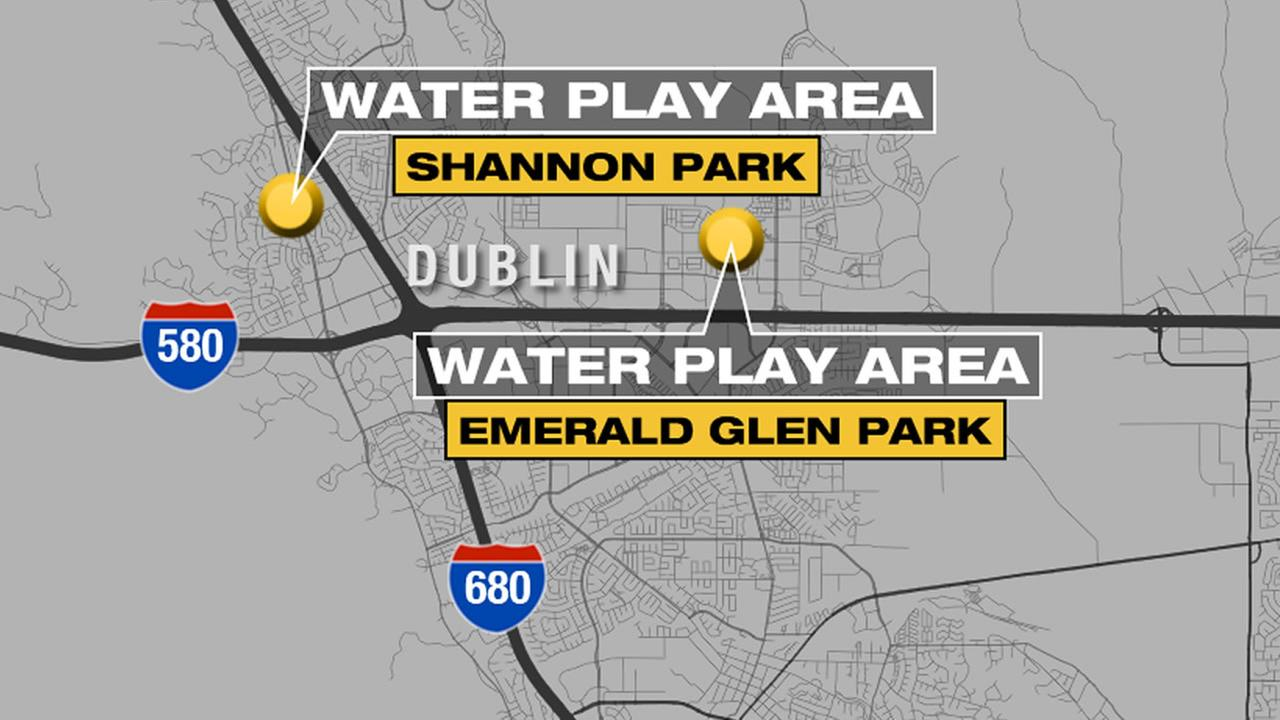 This map shows the two Dublin parks that are getting the hours of its water play areas cut due to the California drought.