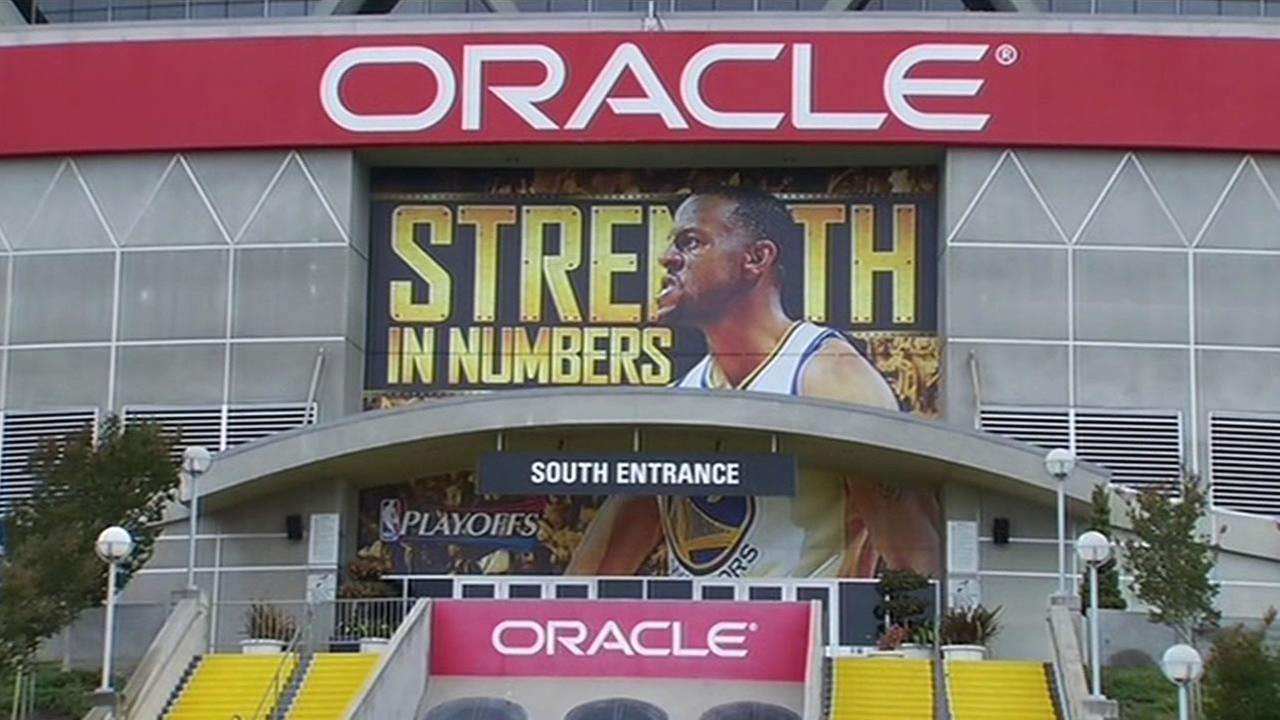 Oaklands Oracle Arena displays the Warriors Strength in Numbers slogan on Thursday, May 21, 2015.