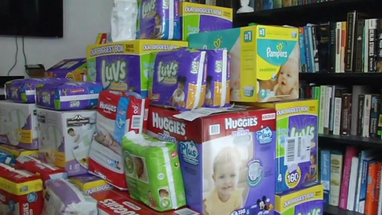 boxes of donated diapers