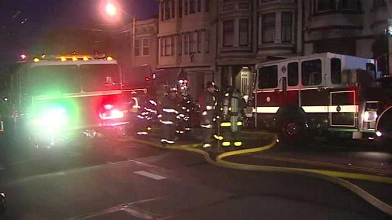 A fire broke out just before 5 a.m. on Saturday, May 23, 2015 at a residential building in San Franciscos Inner Richmond neighborhood.