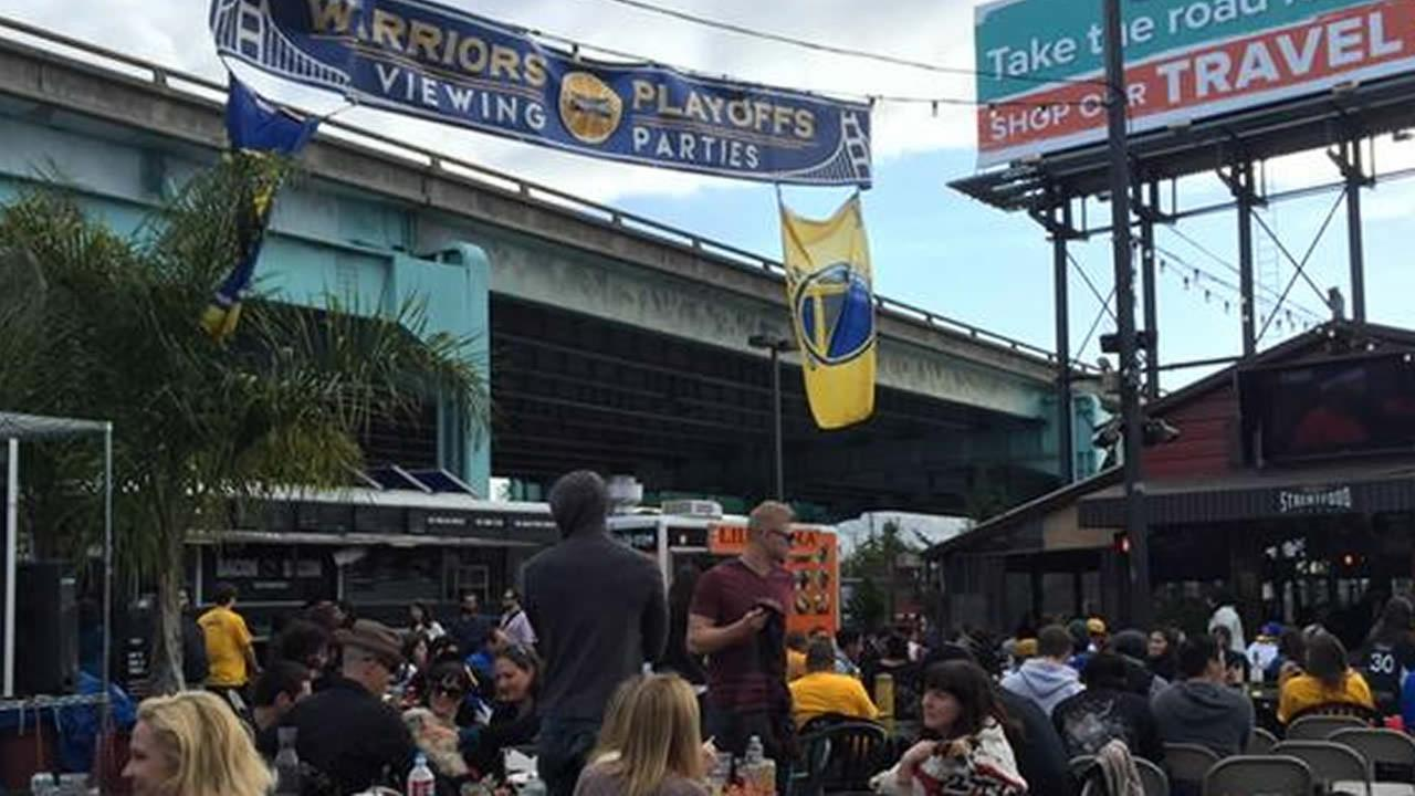 Golden State Warriors fans gathered at San Franciscos SoMa StrEat Food Park to watch Game 3 of the Western Conference finals against the Houston Rockets on May 24, 2015.