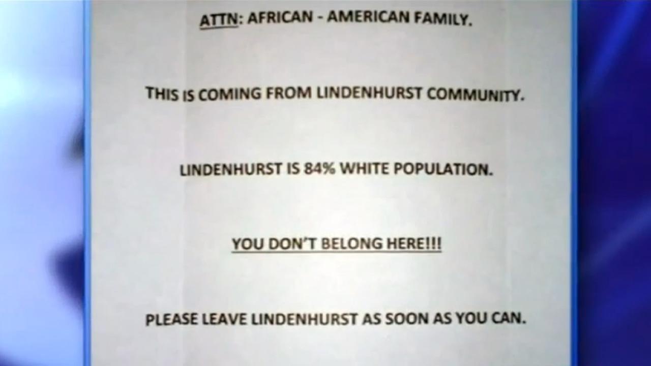 Racist letter sent to New York family.