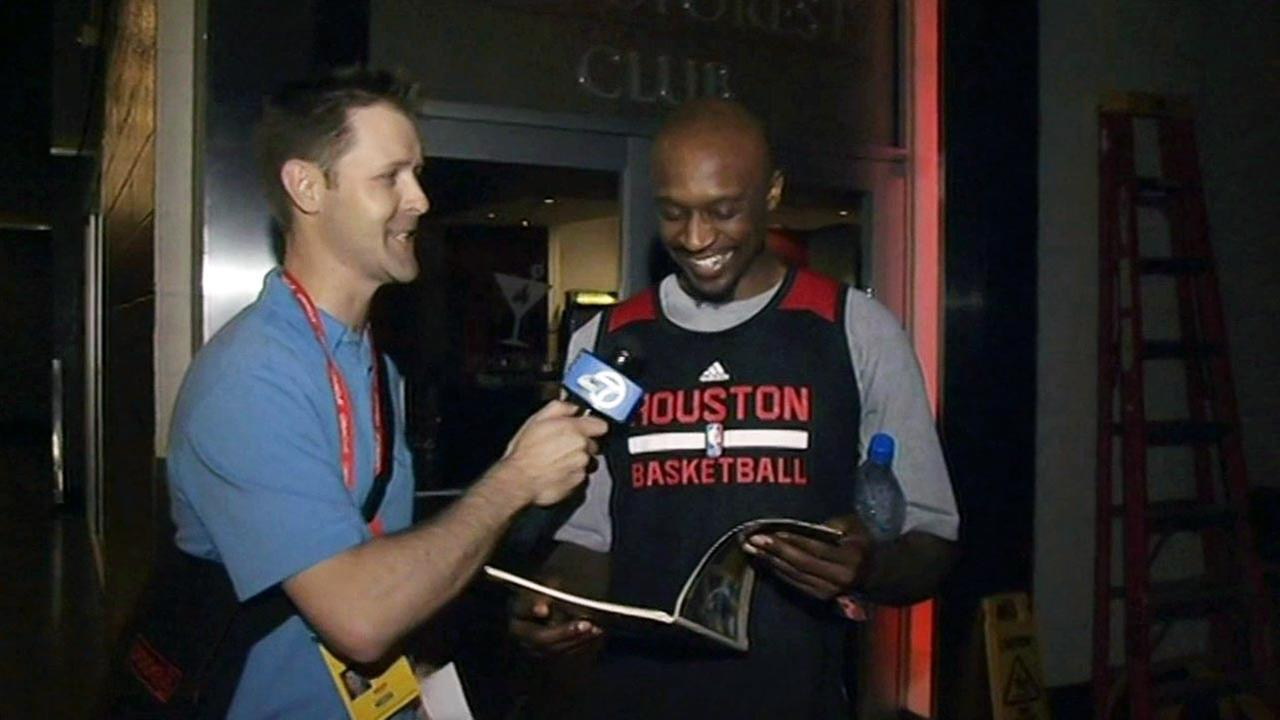 ABC7 Sports Anchor Colin Resch and Houston Rockets Guard Jason Terry